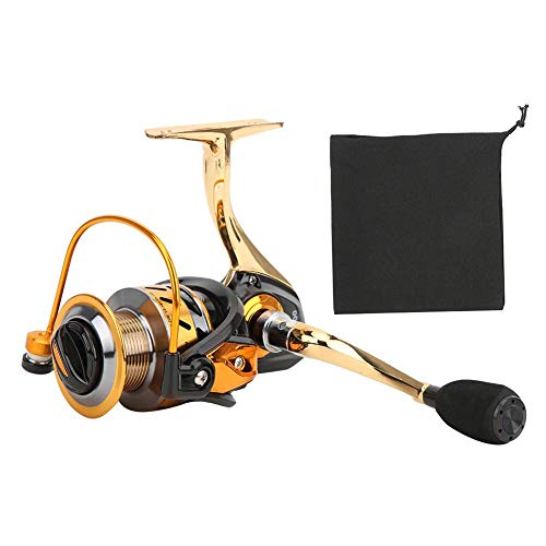 T best Fishing Reel, Light Weight Ultra Smooth All Metal No Interval Fishing Reel Folding Rocker Arm Saltwater Spinning Wheel(MT5000 Black Golden)