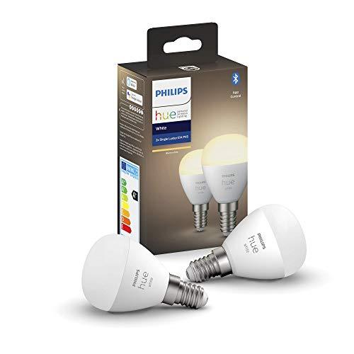 Philips Hue Bombilla Inteligente LED esférica E14, con Bluetooth, Luz blanca cálida, Compatible con Alexa y Google Home (Pack de 2)