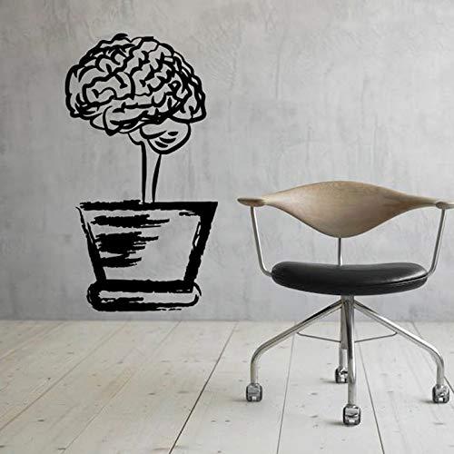 JXWH Inspirerende bloempot hersenen muurstickers wetenschappelijk kantoor interieur kantoor leren, vinyl wandtattoos te versieren