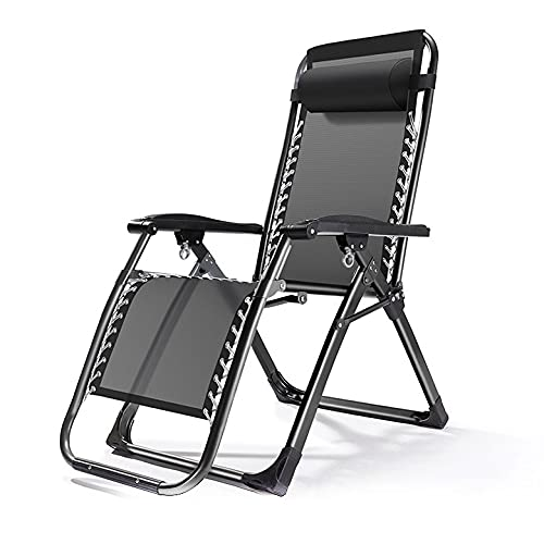 BHPL Lounge chairs, zero-gravity patio chairs, adjustable folding lawn chairs, outdoor chairs with cup holders and headrests, for gardens and porches,Black