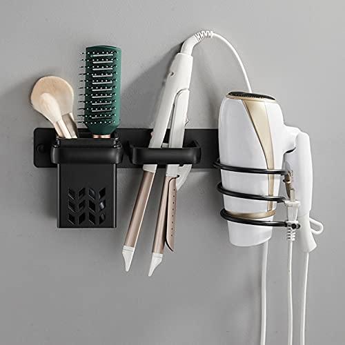 FUFRE Soporte para Secador de Pelo de Aluminio, Soporte para Secador y Plancha de Pelo con Organizador de Cables para Baño, Dormitorio, Hotel