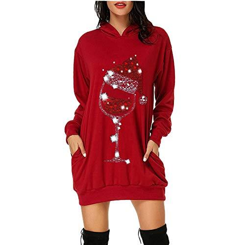 Navidad Jersey Mujer de Manga Larga Largos Cuello Redondo Otoño Vestidos Sudadera...