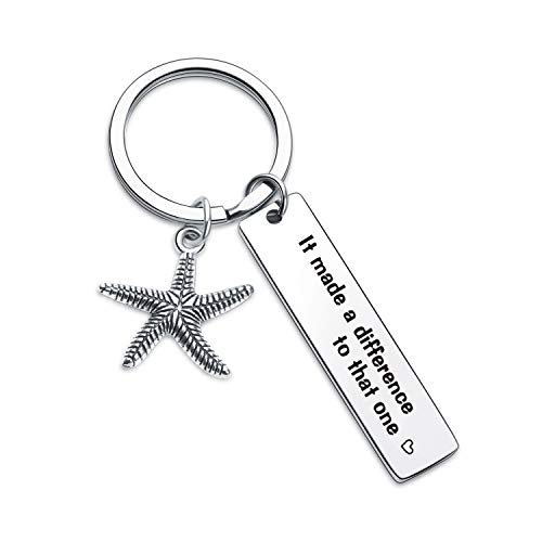 7RVZM Starfish Story Gift Social Worker Keychain Contributor Keychain Mother Gift Volunteer Jewelry Mothers Day Gift Step Mom Gift Contributor Gift Nurse Gift Starfish Keychain Starfish Keyring