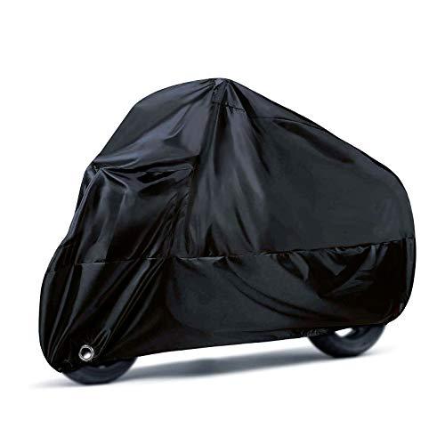 Remebe 190T Funda para Motocicleta para Todas Las Estaciones, Negra, Impermeable, Resistente al desgarro, Duradera, Funda para Motocicleta, 245 X 105 X 125 cm