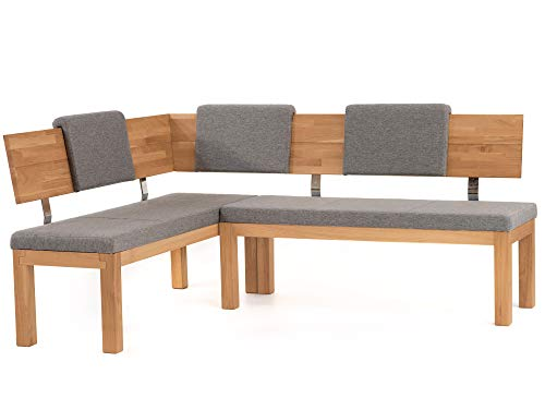 moebel-eins Salima Eckbank, Material Massivholz/Stoffbezug, Kernbuche, 150 x 190 cm, grau