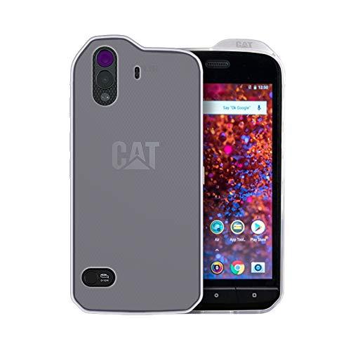caseroxx TPU-Hülle für CAT S61, Handyhülle mit oder ohne Bildschirmschutzfolie (TPU-Hülle mit Bildschirmschutzfolie, weiß-transparent)