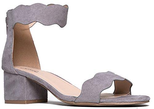 Suede Open Toe Ankle Strap Sandal - Trendy Kitten Heel Shoe - Low Block Formal Heel - Mimi by J. Adams Grey Suede 8 B(M) US