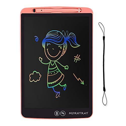 MORNYRAY Tableta de Escritura LCD Colorida 12 Pulgadas, Tableta Dibujo Infantil Grafica Pizarra Digital Electronica Niños con Borrado Parcial (Rosa)