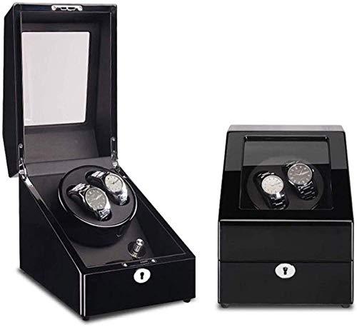 Horloge Dozen Voor Mannen Roterende Horloge Box Automatische Dubbele Horloge Winder Houten Winding Case Horloge Shaker Met Piano Verf En PU Lederen Rocker Horloge Box 2+3, Zwart-bruin