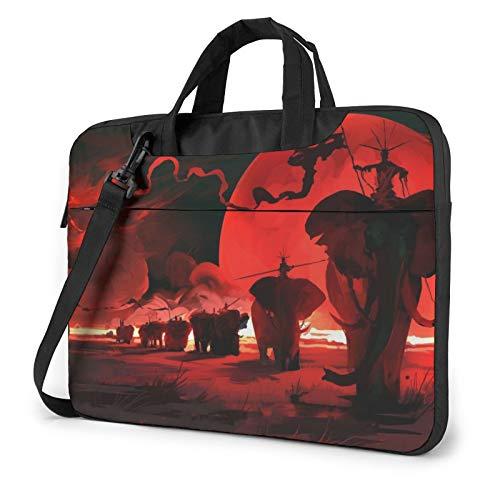 Laptop Shoulder Bag - Elephants Red Printed Shockproof Waterproof Laptop Shoulder Backpack Bag Briefcase 14 Inch