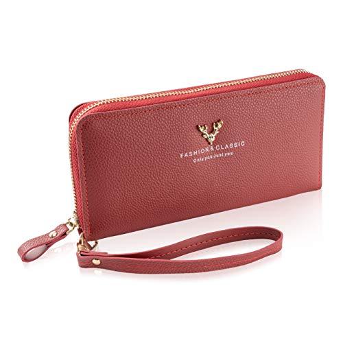 LUCCACINI Geldbörse Damen Gross hochwertige Damen Geldbörse mit Reißverschluss Geldbeutel Damen mit Handyfach Rot