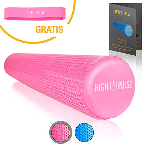 High Pulse® Pilates Rolle inkl. Fitnessband + Gratis Übungsposter – Die multifunktionale Schaumstoffrolle eignet Sich ideal für Muskelkräftigung, Fitness und Massage der Faszien(Pink | 90 x 15 cm)