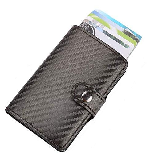 WABISABI DREAMS Cartera hombre RFID de Cuero Minimalista para Tarjetas y Efectivo con protección de bloqueo Tarjetero RFID - Color Negro
