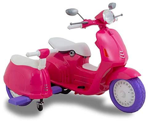 FP-TECH Moto ELETTRICA Scooter Elettrico con Sidecar per Bambini Motocicletta 2 POSTI con USB MP3 LED (Rosa)