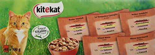 Kitekat Kattenvoer verse zak mix, kleurrijke viervouwen in saus, natte voeding multipack voor katten, 48 x 100 g portiezakken, kip, rund, eend en zalm