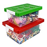 Bins & Things Toy Organizers and Storage / Toy Chest - Set of 2 Large and Small Brick Shaped Kids Storage Organizer for Building Brick Storage, Barbie Dolls, Hot Wheel, Beyblades - Toy Box for Girls and Boys