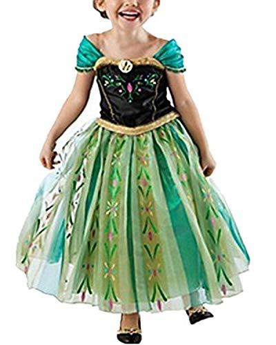 Yigoo Anna Kleid Eiskönigin Prinzessin Kostüm Kinder Glanz Kleid Mädchen Weihnachten Verkleidung Karneval Party Halloween Fest 100
