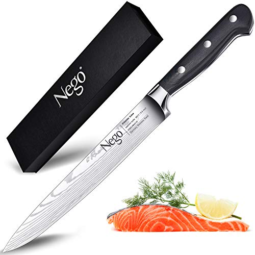Slicing Carving Knife-Sashimi Sushi Knife,8.5 Inch Kitchen Knife - German High Carbon Stainless Steel With Ergonomic Handle Protective Finger Guard - Cooking Knife Chef Knives Vegetable Cleavers