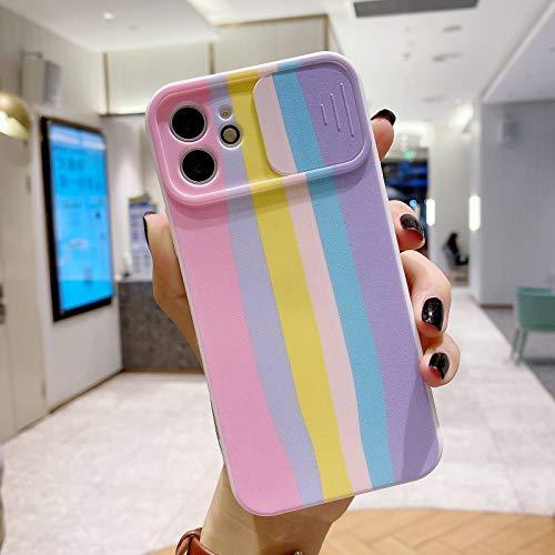 HHZY Funda Compatible con iPhone 12 Pro MAX Protección de La Cámara Caso con Patrón de Arco Iris Diseño Deslizante Suave TPU Silicona Antigolpes Back Cover,Rosado,12 Pro MAX
