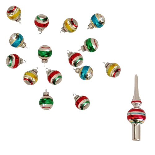 Kurt Adler Miniature Ornaments and Treetop, Set of 16