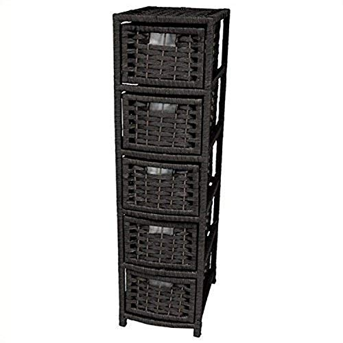 """Oriental Furniture 40"""" Natural Fiber Occasional Chest of Drawers - Black"""