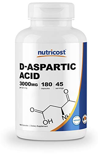 Nutricost D-Aspartic Acid (DAA) Capsules 3000mg Per Serving (180 Capsules) - Gluten Free & Non-GMO