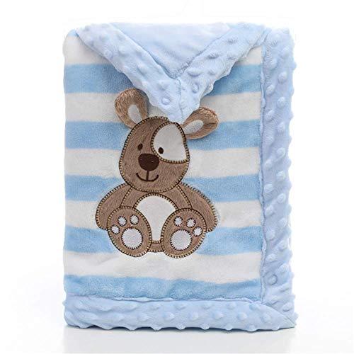 Babydecke, LANDOR Doppelschichten Flanell weiche Babydecke Winter warme Streifen Plüsch Kleinkind Decke bequeme Kinderwagen Decke (Blauer Hund)