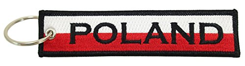 Luso Poland Flag Key Chain, 100% Embroidered