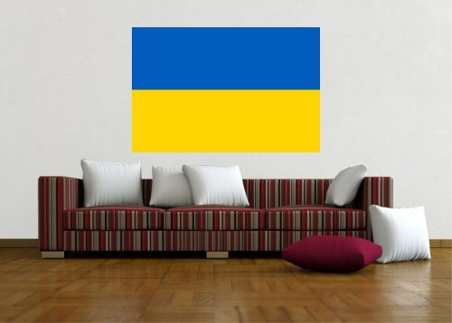 Kiwistar Wandtattoo Sticker Fahne Flagge Aufkleber Ukraine 60 x 40cm