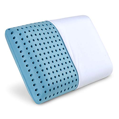 PharMeDoc Blue Cooling Memory Foam Pillow Ventilated Hole-Punch Memory Foam Bed Pillow Infused with Cooling Gel - Removable Pillow Case