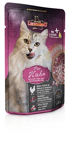 Leonardo Nassfutter für Katzen im Frischebeutel, Hühnchen pur, 16x85g