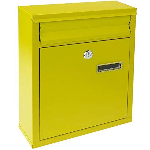 PrimeMatik - Buzón metálico para Cartas y Correo Postal de Color Amarillo 243 x 85 x 302 mm