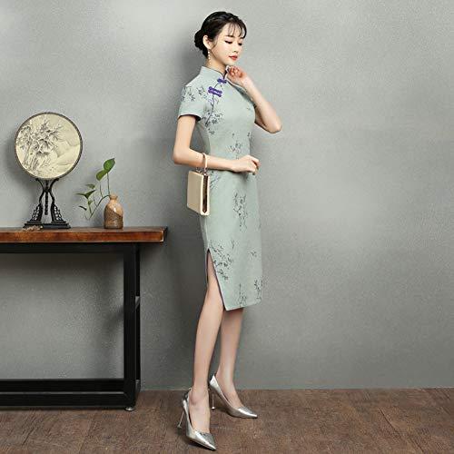 Qingxi Baumwolle und Leinen Cheongsam im Langen Abschnitt der weiblichen Sommer Dame Temperament verbesserte dünnes chinesisches Kleid war dünn,A2,S