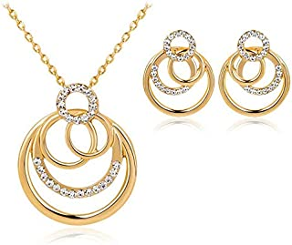 Gold Plated White Rhinestones Circles Necklace Earrings Jewelry Set