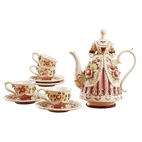 DFBGL Juego de té Chino Teteras Juego de té de la Tarde Infusor de té Tetera Pintado a Mano Rosas en Relieve Juego de té de cerámica Tetera Victoriana Europea con Taza Alivio Pintado a m