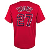 Mike Trout Los Angeles Angels #27 Red Youth Name and Number Jersey T-Shirt (Large 14/16)