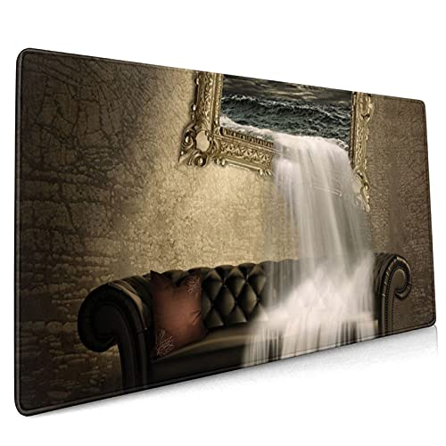 Surreal Waterfall Sofa Super Large Gaming Mouse pad,, with Non-Slip Base (15.8x35.5 inches), Comfortable, Foldable, Suitable for desktops, laptops, Keyboards, etc