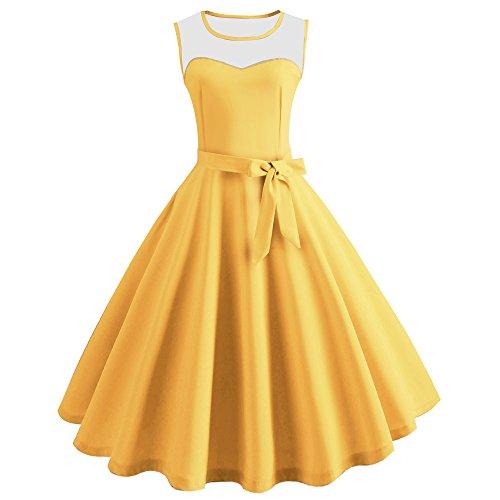 JUTOO Vestido de la Cintura del Color sólido del Viento de la Vendimia Hepburn de Las Mujeres(S-2XL)