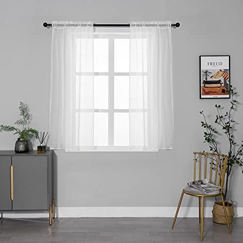 GIRASOLE Par de cortinas de gasa, transparentes, efecto lino, para salón, dormitorio, balcón, ventana e interior, 2 paneles (crema, 70 x 150 cm)