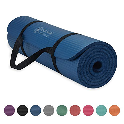 Gaiam Essentials Thick Yoga Mat Fitness & Exercise Mat with Easy-Cinch Yoga Mat Carrier Strap, Navy, 72'L x 24'W x 2/5 Inch Thick