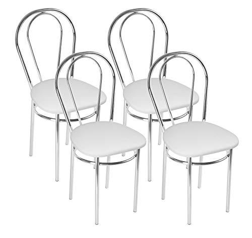 Silla de Comedor de Cuero Sintético de Diseño Moderno, Set de 4 Sillas de Comedor con Patas de Metal - Tulipan Cromo Trapecio - Color: Blanco - Set of 4