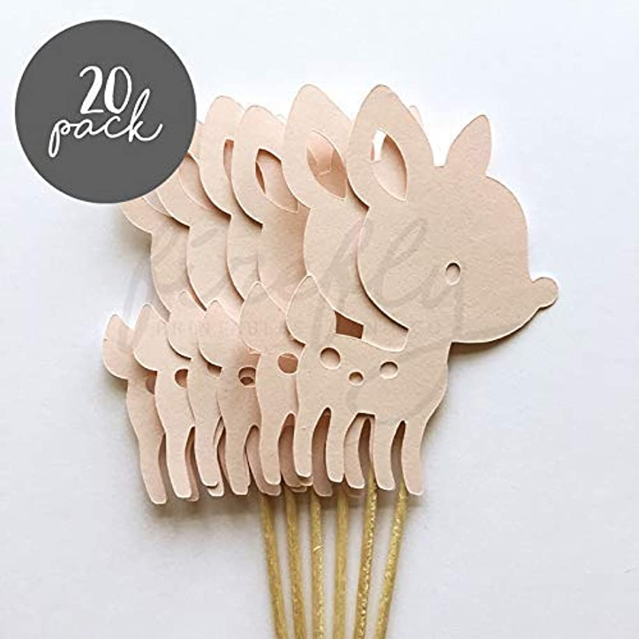 Firefly Deer 20 Cupcake Toppers Gender Reveal Baby Shower Decorations Party Cake Decorating Supplies First Birthday Decorations Kids Children Baking Supplies (Pink)