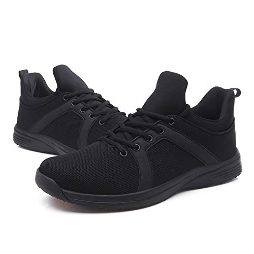 aeepd Women Chef Shoes for Kitchen Slip Resistant Oil Resistant Slip on Sneakers Food Service Non-Slip Shoes Black
