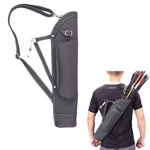 KRATARC Archery Dual Use Leather Back Arrow Quiver Hip Quiver Waist Hang Side with Adjustable Strap Belt Clip (Black)