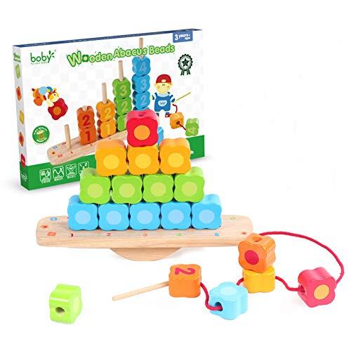 STKASE Juguetes para Niños Pequeños Apilador Geométrico De Madera, Stack & Sort Board Tablero para Apilar y Clasificar, Juguetes Educativos Montessori Cumpleaños para Niños Niñas Bebés 2 3 4+ Años