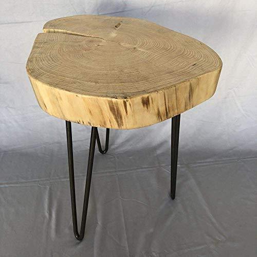 Albtisch.de - Beistelltisch Fichte - Couchtisch Wohnzimmertisch Sofatisch Nachttisch Holztisch Anstelltisch Massiv Baumscheibe Baumkante Holzscheibe Echtholz Scheibe Metall Stahl Design