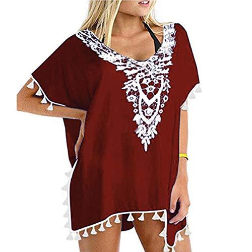 ECOMBOS - Vestido de playa para mujer, bikini, poncho de playa, gasa, vestido de verano, vestido de flores, boho, túnica, playa, pareo con borlas rojo Talla única