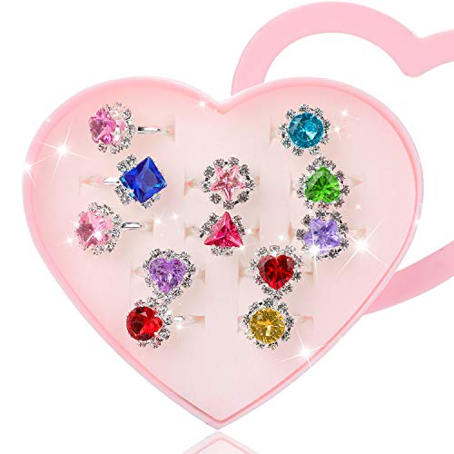Hifot 12 pcs Girls Crystal Adjustable Rings, Princess Jewelry Finger Rings with Heart Shape Box, Girl Pretend Play and Dress up Rings for Children Kids Little Girls