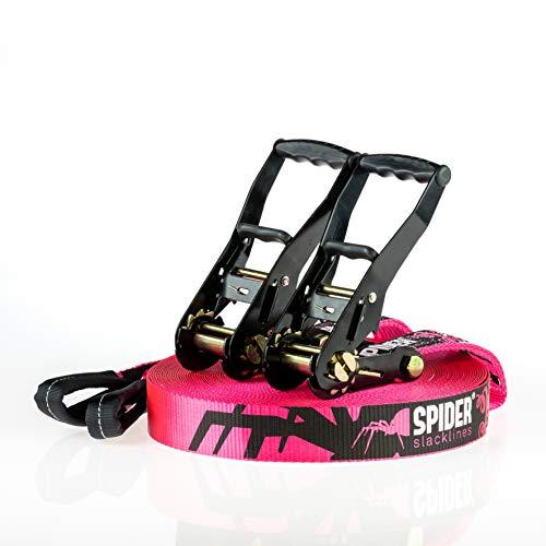 SPIDER SLACKLINE TKSA5 - Custom Slackline Kit erfahrene Slackliner oder Anfänger - Komplettset mit Gurtband Länge 35m mit 2X Ratschen
