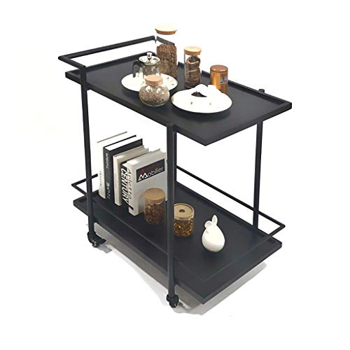 XUSHEN-HU Carro de servicio de 2 niveles para vino, carrito de hierro para hotel, carrito de cocina, carrito de almacenamiento multifuncional (negro)